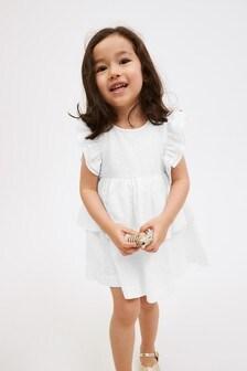 White Organic Cotton Ruffle Dress (3mths-7yrs)