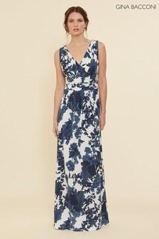 Gina Bacconi Blue Maliana Floral Jersey Maxi Dress