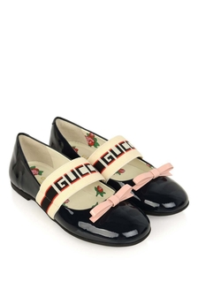 GUCCI Kids Girls Navy Patent Leather Ballerina Shoes
