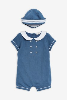 Navy Woven Occasion Romper With Hat (0mths-2yrs)