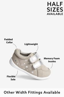 Grey Leather Wide Fit (G) First Walker Shoes (Younger)