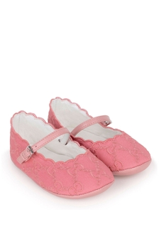Baby Girls Pink GG Embroidered Prewalker Pumps