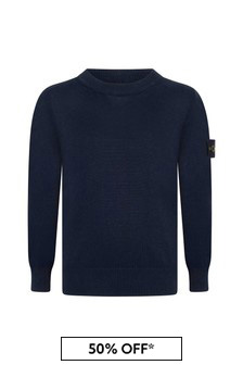 Boys Navy Cotton Jumper