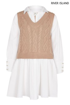 River Island Brown Cable Tank Hybrid Dress