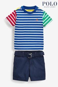 Ralph Lauren Multicoloured Stripe T-Shirt And Navy Shorts Set