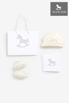 The Little Tailor Cream Jersey Hat & Bootie Gift Set