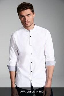 White Slim Fit Textured Slim Fit Grandad Collar Long Sleeve Shirt