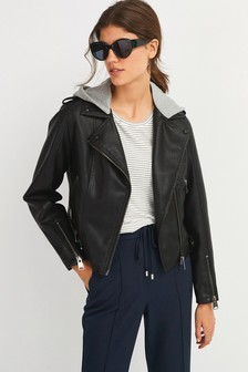 Black Faux Leather Jacket With Jersey Hood
