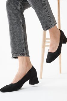 Black Square Toe Block Court Shoes