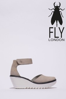 Fly London Ankle Strap Round Toe Wedges