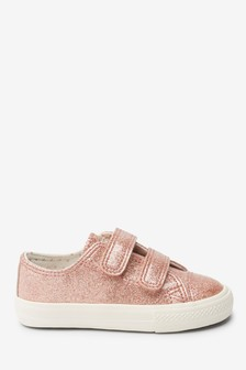 Pink Glitter Touch Fastening Trainers (Younger)