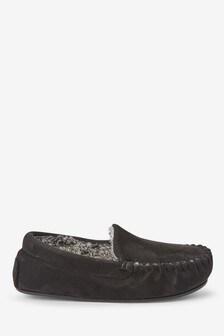 Black Moccasin Slippers (Older)