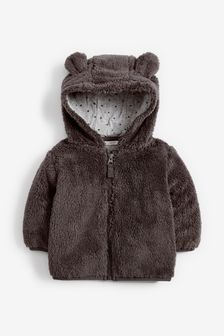 Charcoal Cosy Fleece Bear Jacket (0mths-2yrs)