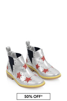 Girls Silver And Red Star Ankle Boots