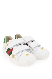 White Leather Bee and Star New Ace Trainers