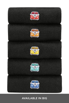 Black Volkswagen Camper Van Embroidered Socks Five Pack
