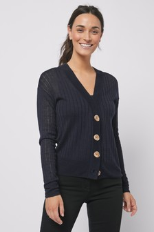 Navy Linen Blend Button Front Cardigan