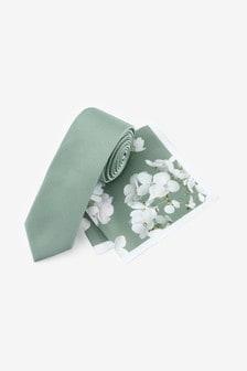Sage Tie With Floral Pocket Square Set