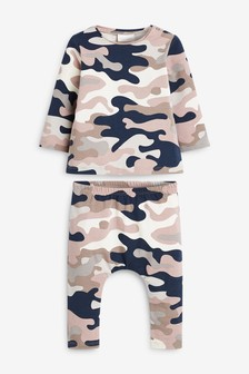Monochrome Camo GOTs Organic T-Shirt And Legging Set With Stretch (0mths-2yrs)
