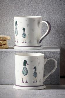 Set of 2 Daisy & Daphne Duck Mugs