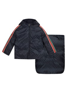 Baby Boys Navy Jacquard Trims Jacket with Sleep Bag Attachment