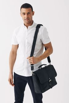 Black Signature Leather Oily Briefcase