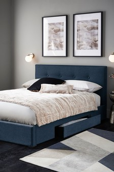 Soft Marl Petrol Blue Studio Two Drawer Bed