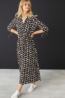 Monochrome Maxi Wrap Dress