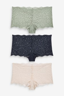 Navy/Sage/Cream Short Lace Knickers Three Pack