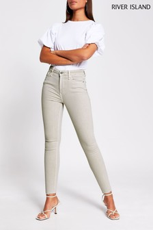River Island Beige - Light Hailey High Rise Onyx Jean