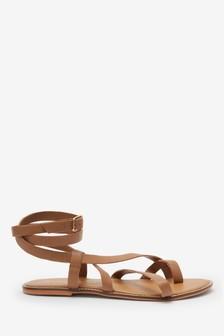 Tan Forever Comfort® Strappy Toe Loop Sandals