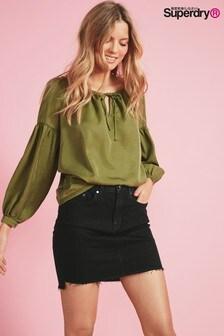 Superdry Black Denim Mini Skirt