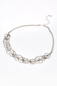 Silver Tone Circles Shapes Short Necklace