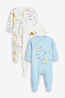 Blue/White 3 Pack Lion Safari Sleepsuits (0mths-2yrs)