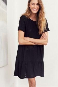 Black Broderie Short Sleeve T-Shirt Dress
