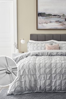 Grey All Over Pleated Duvet Cover And Pillowcase Set