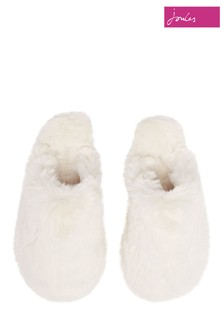 Joules Cream Cosy Faux Fur Mule Slippers