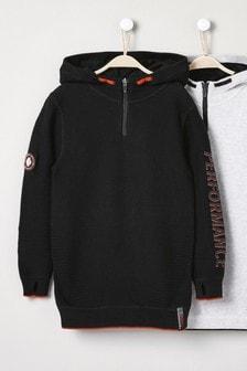 Black Ripple Knitted Zip Neck Hoody (3-16yrs)