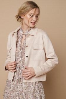 Pale Pink Short Suedette Jacket