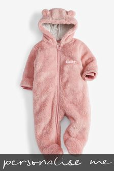 Pink Personalised Bear Pramsuit