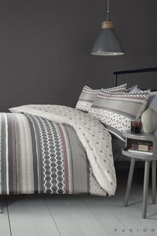 Fusion Retrace Geo Stripe Duvet Cover and Pillowcase Set