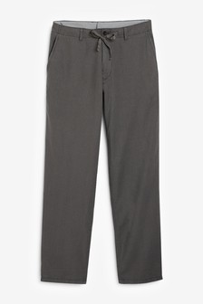 Charcoal Linen Blend Drawstring Trousers