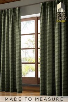 Jacquard Stem Khaki Green Made To Measure Curtains by Orla Kiely