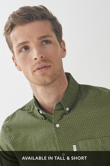 Khaki Geo Regular Fit Textured Cross Linen Blend Shirt