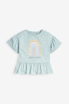Turquoise Rainbow Organic Cotton Peplum T-Shirt (3mths-7yrs)