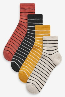 Stripe Cushioned Sole Cropped Ankle Socks Four Pack