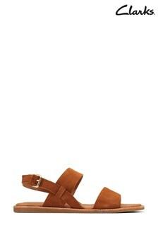 Clarks Tan Suede Karsea Strap Sandals