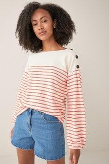 Ecru/Red Striped Long Sleeve Top