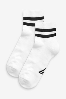 White Cushion Sole Cropped Ankle Sports Socks Two Pack
