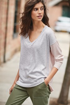 Pink/Grey Cosy V-Neck Top